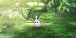 Обои Сова с совятами сидит в траве, прикрывшись от дождя листком