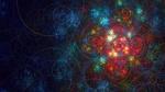 Обои Хаотичная спиральная абстракция на разноцветном фоне со свечением