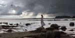 Обои Девушка стоит на камнях на фоне моря, by laminaria-vest