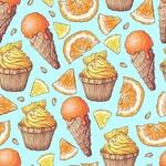 Обои Мороженное, дольки апельсина и лимона и кексы