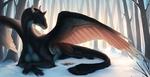 Обои Черный дракон смотрит на цветы, лежа на снегу