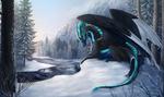 Обои Дракон лежит на снегу около реки в зимнем лесу