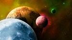 Обои Разноцветные планеты в космической туманности
