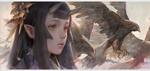 Обои Девушка с рожками среди летящих орлов, by Krenz Cushart