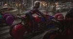 Обои Девушка на футуристическом мотоцикле стоит на дороге в городе, by Eddie Mendoza