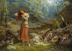 Обои Рыжеволосая девушка в лесу. Художник Arthur Hughes