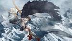 Обои Aya Shameimaru с фотоаппаратом в руке парит в небе из игры Touhou Project / Проект Восток