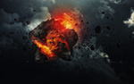 Обои Горящий метеорит на фоне сумрачного неба