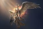 Обои Ангел-воительница в огненном свечении парит в воздухе, арт к игре League of Angels / Лига Ангелов