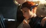 Обои Рыжеволосая девушка-пилот Moira ODeorain / Мойра ОДеорен в скафандре сидит за монитором, by Chen Wang