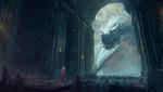 Обои Дракон стоит в замке, у входа в зал, и смотрит на короля, by Andrew Palyanov