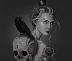 Обои Девушка с черепом, на котором сидит ворон, by Jose Enrique Carrasco Ruiz