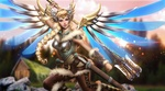 Обои Mercy / Ангел / Ангела Циглер из игры Overwatch / Дозор, by AyyaSAP