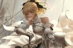 Обои Сэйбер Лили / Сейбер Лилия / Saber Lily в крови на поле боя, персонаж компьютерных игр Fate / unlimited codes и Fate / Grand Order