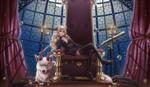 Обои Светловолосая зеленоглазая девушка сидит на троне, рядом лежит белый волк с рожками, by sunimu