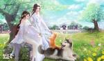 Обои Девушка и юноша в белых праздничных одеждах сидят весной, на природе с кошкой и собакой, by Ruoxin Zhang