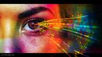 Обои Лицо девушки с разноцветными лучами выходящими из глаза