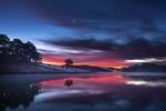 Обои Река под вечерним небом на фоне заката