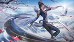 Обои Девушка-воин стоит в боевой стойке на фоне солнца в небе над заснеженными горами и журавля в небе, by san hua