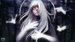Обои Белокурая девушка со светящими руками, by sashajoe