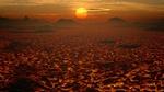 Обои Вулканическая раскаленная лава, покрывающая поверхность планеты на закате