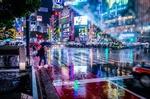 Обои Дождь на улице вечернего Tokyo / Токио, Japan / Япония