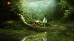 Обои Девушка в белом платье стоит у реки в лесу, by Gene Raz von Edler