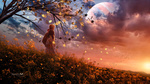 Обои Парень стоит у осеннего дерева на фоне облачного неба, by Gene Raz von Edler