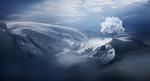 Обои Стая белых птиц летит возле Snow tree / Снежного дерева в горах зимой, by ElenaDudina