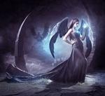 Обои Девушка-ангел с магическим свечением над ладонью, by ElenaDudina