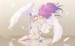 Обои Виртуальные ютуберы Kagura Mea (Kagura Mea Channel) сидящая на поверхности воды и Minato Aqua (Hololive) с крыльями за спиной, art by neps-l