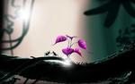 Обои Два муравья у розового растения