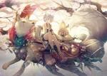 Обои Девочка в одежде японской жрицы сидит на большом белом волке, бегущем среди деревьев