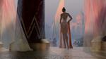 Обои Девушка в прозрачном белом платье стоит среди дворцовых колонн с видом на лодку в воде, цапель у берега и восточный дворец в утреннем тумане, by Giorgos Tsolis