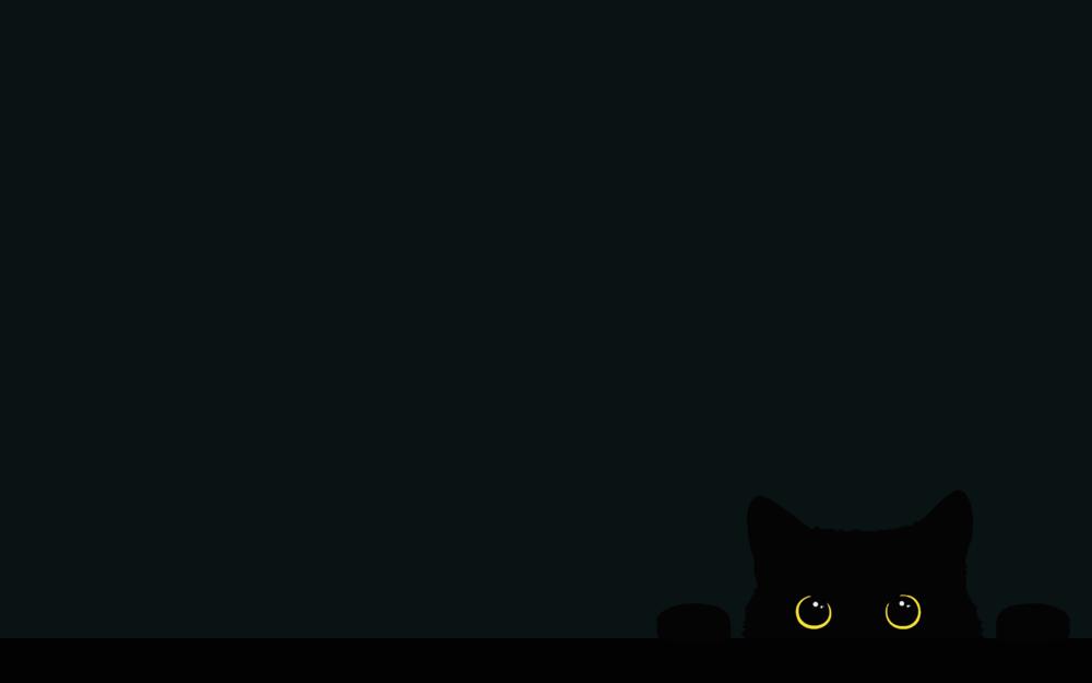 Обои для рабочего стола На темном фоне выглядывающая черная кошка