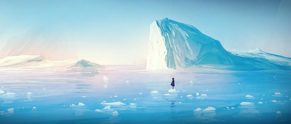 Обои для рабочего стола Одинокая девочка стоит на куске льда в море