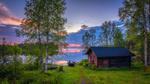 Обои Деревянный домик на берегу у озера Kallunkijаrvi, by M. T. L Photography