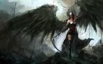Обои Девушка - ангел с черными крыльями и в шлеме идет по скалам вооружившись косой