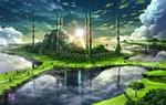 Обои Фантастический замок с куполами и башнями в солнечных лучах, с водопадами, возвышающийся на острове, by tokyogenso
