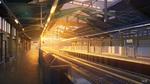 Обои Пустая железнодорожная станция в лучах закатного солнца