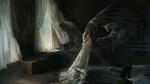 Обои Демон тянет лапы к девушке-ангелу с темными крыльями, стоящей посреди комнаты, by Yi