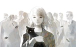 Обои Девочка с котенком в руках стоит впереди толпы, by namito111