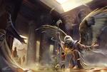 Обои Мальчик в храме прикасается ладонью к HORUS / Гору-Египетскому богу неба и солнца в облике сокола, by Gianluca Rolli