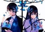 Обои Девушка и парень держат в руках стеклянные банки, внутри которых черепа, by lluluchwan