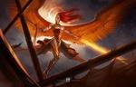 Обои Angel / Ангел-воительница с огненным мечом, by Antonio De Luca