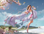 Обои Девушка с веером танцует у цветущего дерева, by Jianyachi L