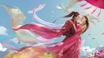 Обои Девушка и юноша стоят, обнявшись, на фоне летящей белой птицы в голубом облачном небе, by Jianyachi L