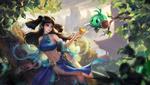 Обои Девушка в синем наряде предлагает золотое яблоко зеленом чудику с мечом, сидящему на ветке дерева, by Mr' Q