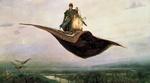 Обои Сказочный персонаж с фонарем на ковре - самолете, by Viktor Vasnetsov