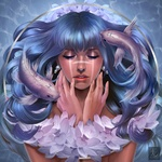 Обои Портрет девушки с голубыми волосами и рыбами, by Ataraxicare